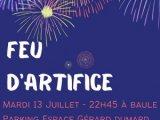 Feu d'artifice le 13 juillet à Baule